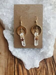 Handmade Aura Quartz, Moon&star Gift,dangle Earrings,Pagan Gift, Wicca Jewelry