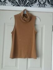 ladies New brown polo neck sleeveless top size 6