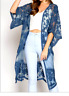 Duster Cardigan 3/4 Sleeve Crochet Sheer Lace Blue Kimono Style Cover Up