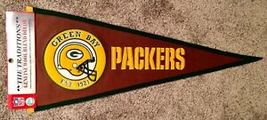 RARE Green Bay Packers EST. 1921 Leather Pigskin Football / Wool Pennant