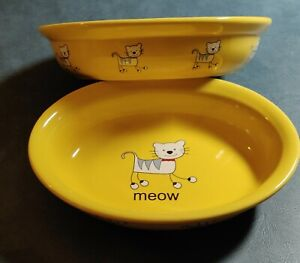 Whisker City Yellow MEOW Ceramic Cat Bowls  Set of 2