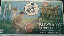 "Last One! Vtg Style BIG BANG CANNON Cast Iron Paper Sign Poster 15 1/2"" X 8 3/4"""