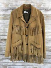 Vintage Suede Leather Fringe Hippie Jacket Coat Tan Native Western M/L