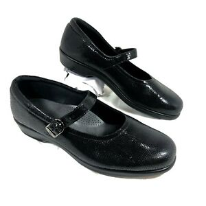 GUC SAS Maria Mary Janes Black Patent leather Reptile Embossed Sz 10 Wide