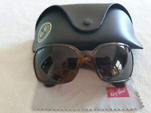 Ray Ban brown tortoiseshell frame polarized sunglasses. RB4068 642/57. With case
