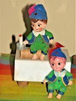 """Nursery Rhyme Jack Be Nimble Vintage Plastic Figures Figurines 4"""" Tall Lot of 2"""
