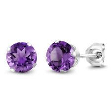February Birthstone Purple Amethyst Stud Earrings 6mm 1.50 cttw in 925 Silver