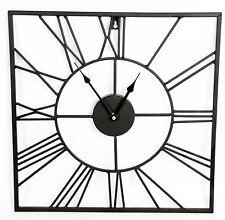 40 cm chiffre romain horloge Carré stylé métal noir Murale Décoration de maison