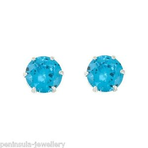 Sterling Silver Aquamarine CZ Studs Earrings 5mm round Made in UK Gift boxed