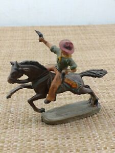 Chialu Cowboy Shooting from Horse Toy Soldier Composition Made in Italy 1950's