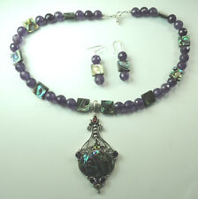 Statement Amethyst Abalone Peridot Garnet Necklace & Earrings Sterling Silver