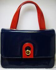 Vintage Morris Moskowitz Navy Blue & Red Patent Leather Handbag Purse Bag