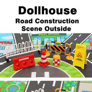 Dollhouse Miniature Road Construction Site Outdoor Road Scene Model Accessories