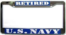 "US NAVY Retired Chrome Auto Car License Plate Frame USN ""Made in the USA"""