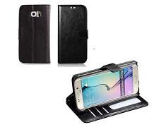 Samsung Galaxy S6 Edge Case PU Leather - (Black)