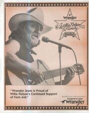 """(SFBK72) POSTER/ADVERT 13X11"""" WRANGLER JEANS 1986 WILLIE NELSON & FAMILY TOUR"""
