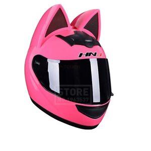 Black Lens Helmet Full Face Motorcycle Women Personality Ear Helmet Accessories
