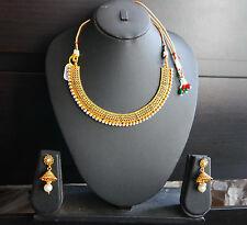 Ethnic Indian Kundan Gold Necklace Earrings Set Wedding Bridal  Jewelry u4