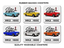 1967 - 1970 Cortina Mk2 1600e Sedan Set of 6 Quality Rubber Drink Coasters