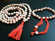 "TULSI JAPA MALA PRAYERS WOOD ORANGE SPIRITUAL ROSARY BRACELET NECKLACE 36""L"