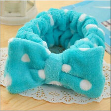 Lovely Blue Big Bow Dot Soft Towel Hair Band Wrap Headband For Bath Spa Make Up