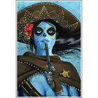 La Muerte by JR Linton Mexican Girl Woman Sheriff Tattoo Art Print for Framing