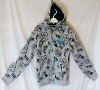 Boys George Grey Hawaiian Tropical Leaf Zipped Hood Jacket Hoodie Age 9-10 Years
