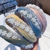 Fashion Women Pearl Twist Cross Headband Hair Band Hair Accessories Head Wraps