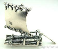 Miniature Sterling Silver Raft Sail Boat & Oar #145