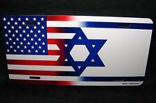 ISRAEL AMERICAN FLAG METAL ALUMINUM CAR LICENSE PLATE TAG   יִשְׂרָאֵל