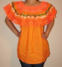 ORANGE GYPSY PEASANT MEXICAN LACE OFF SHOULDER BLOUSE SMALL TO MEDIUM
