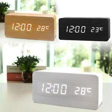 LED Digitale Sveglia Orologio da Tavolo Legno Notte Termometro Snooze 3 Colore