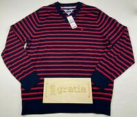 Tommy Hilfiger Men's Pima Cotton V-Neck Pullover Sweater Striped Size 2XL