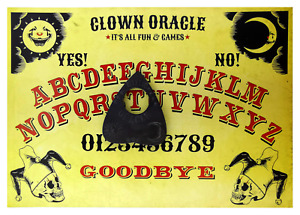 A4 Wooden Clown Oracle Ouija Board, W/ Classic Sun, Moon & Stars with Planchette