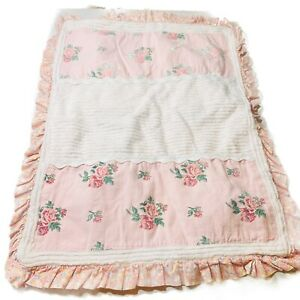 vintage chenille pillow case cover boho chic pink Rose Floral Country Flowers