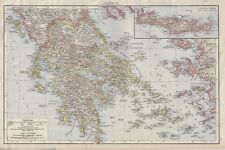 "Greek Map - c1900 - ""GREECE - CRETE or CANDIA"" - Chromolithograph"