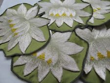 Set 6 RARE Large SOCIETY SILK WATER LILY  Flower & Pad Cocktail Napkins, Cleaned