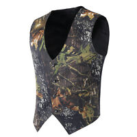 Mens Mossy Oak Camouflage Vests Wedding Groom White/Dark Camo Vest for Hunting