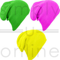 Mens/Womans High Visibility Knitted Woolly Winter Slouch Beanie Hat Running Ski