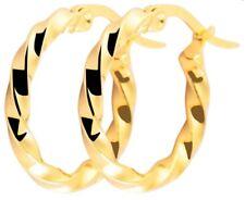 Edelstahl Ohrringe Ohrhänger Creolen Kreolen Gelbgold vergoldet kleine Damen 15