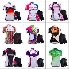 Damen Kurzarm Radsport Atmungsaktiv Cycling Jersey Fahrradtrikot Radlerhose S-XL