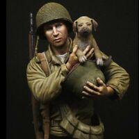 1/9 BUST Resin Figure Model Kit  WW2 US Infantry, 'Saving the dog'