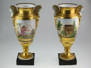 19th Century Porcelain Empire French Paris Vases Circa 1820