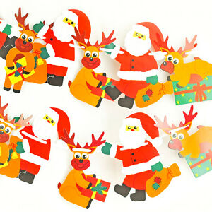 2M - Party Garland Hanging Paper Santa and Reindeer Birthday Baby Decor