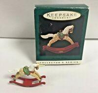 "Hallmark Vintage 1996 Christmas Ornament Mini Rocking Horse With Box 1"" Tall"