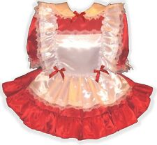 """Clarissa"" CUSTOM Fit Red Satin Adult Little Girl Sissy Dress Pinafore LEANNE"