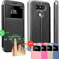 Shockproof Flip Leather View Window Smart Case Stand Cover Skin for LG G5 H850