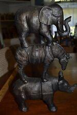 ~ Stacked Dark Resin Elephant Zebra Rhinoceros Statue Figurine Home Decorative ~