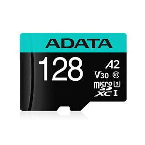 128GB AData Premier Pro microSDXC CL10 UHS-I U3 V30 A2 Memory Card w/SD Adapter