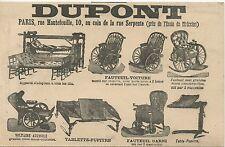 CARTE POSTALE PUBLICITAIRE PARIS / DUPONT FAUTAUIL VOITURE / TABLETTE PUPITRE